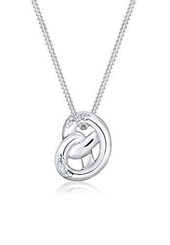 Elli Damen Kette mit Anhänger Brezel 925 Sterling Silber Kristall weiß Rundschliff 45 cm 0105882416_45
