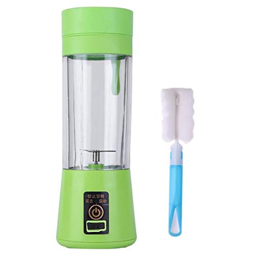 CSLFH Mini Juicer 380Ml 2/4/6 Blades Portable Juicer Cup USB Rechargeable Mixer Blender Smoothie Juice Machine  with Folding Brush,Green Mini-usb Folding Blade