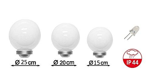 3 x LED Solarkugel Marla Solarleuchte Gartenleuchte mit Erdspieß, Durchmesser 15 + 20 + 25 cm Solarleuchte Kugelleuchte Dekolampe - 3