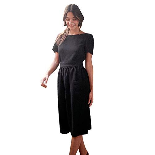 Lucky Mall Frauen Elegantes Kurzärmliges Abendkleid mit Offenem Rücken, Damen Schlankes Midikleid mit Taschen Sommer Lässiges Kleid Mode Club Kleid Sexy Festkleid Urlaubsrock