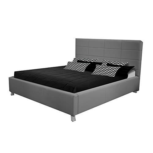 mb-moebel Polsterbett 140 x 200 cm Doppelbett Bett Bettgestell mit Lattenrost mit/ohne Bettkästen Grau TAO