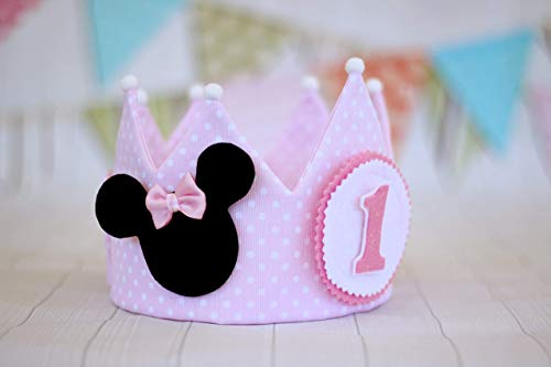 Corona de cumpleaños de tela se puede personalizar con el nombre