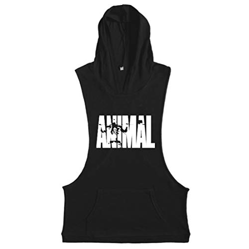 COWBI Herren Unterhemd Stringer Animal Bodybuilding Fitness Gym Tank Top Sport Hemd Weste mit Kapuze,M-XXL (Fitness Animal)