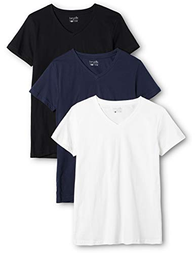 Berydale Damen T-Shirt mit V-Ausschnitt, 3er Pack, Mehrfarbig (Dunkelblau/Weiß/Anthrazit - 3er Pack) , XX-Large
