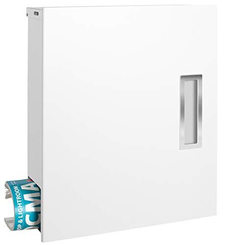 MOCAVI Box 135 Design-Briefkasten mit Zeitungsfach und Edelstahl-Griff weiß (ral 9003) DIN-A4-geeignet (Griff Aus Edelstahl-abdeckungen)