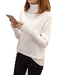 Mujer De Manga Larga Suelta De Cuello Alto De Punto Jersey Blusa Ocio Pulóver Suéter