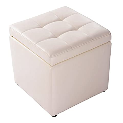 Costway Faux Leather Ottoman Pouffe Storage Toy Box Foot Stools