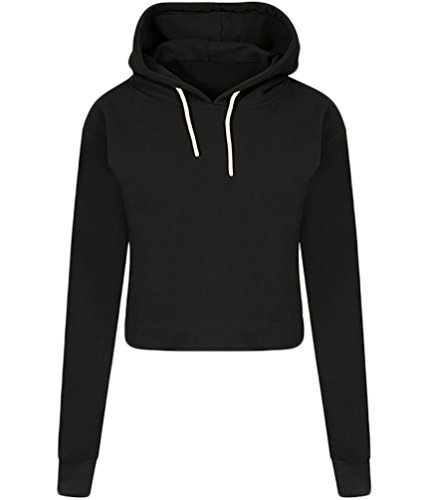 YouPue Sweat Capuche Femmes Manches Longues Côtelées Cordons Sweatshirt Casual Pullover Hoodies Hauts Sweats Pull Tops Noir