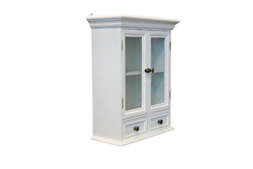 elbmöbel Hängeschrank Holz mit zwei Holztüren mit Glastür zwei Schubladen Wandschrank Badschrank...