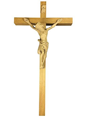 Motivationsgeschenke Kruzifix schlicht 40 cm Eichenholz hell Holzkreuz Gerader Querbalken