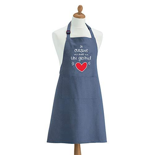 Tablier de cuisine Cœur bleu 90 x 72 cm Torchons & Bouchons