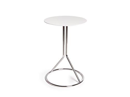 Table Basse Twist Ronde H.55cm x D.36cm Chromée Dessus en Contre-Plaqué Laqué Blanc