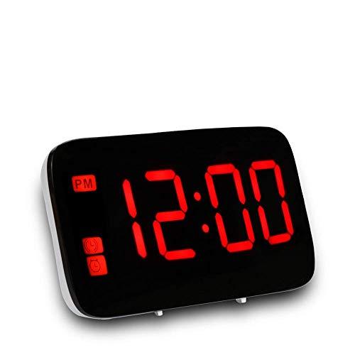 Radiowecker FM, Digitaler Wecker mit USB-Ladeanschluss, Lauter Alarm, Großes LED-Display, Dimmer, Snooze, Schlaf-Timer, Kopfhörerbuchse,12/24-Stunden, Tischuhr Netzbetrieben (rot)