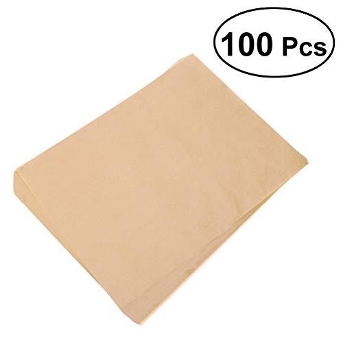 vosarea 100pcs papel de horno para barbacoa antiadherente para bandejas de horno de Rectángulo 9.5pulgadas