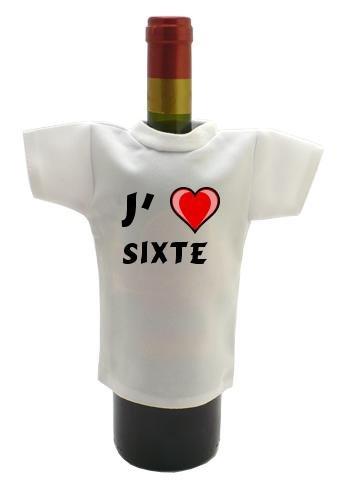 Shopzeus Bouteille de vin T-shirt avec J'aime Sixte (Noms/Prénoms)