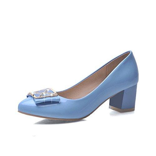 VogueZone009 Donna Punta Tonda Tacco Medio Pelle Di Maiale Puro Tirare Ballerine Azzurro