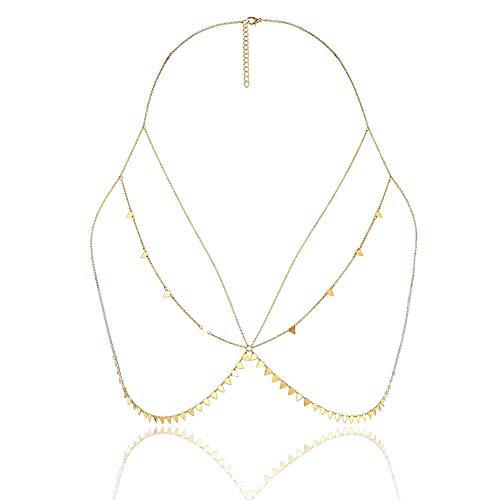MEMIND Frau Bikini Brust Kette Europa und Amerika Accessoires Sexy einfache geometrische mehrschichtige Kleidung Kette Persönlichkeit Wilden Triangle Tassel-Körper-Kette,Gold