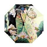 Parapluie de Voyage Femme Fille Parapluie Pliant Résistant au Vent avec 3D Imprimé Belles Peintures à L'huile Léger Parapluie Anti-UV Soleil Iimperméable Ouverture et Fermeture Automatique