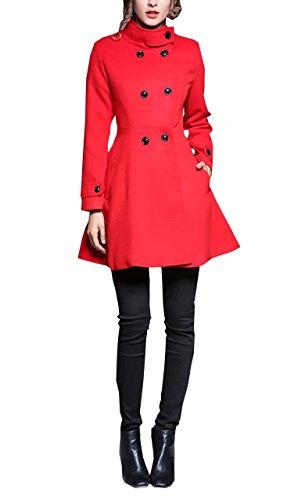 Belted Damen Trench Coat (Damen Wintermantel Woll Coat Elegant Herbst Zweireiher Mantel Trenchcoat Übergangsjacke A-linie Parka Dufflecoat Mit Gürtel)
