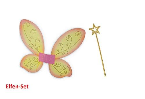 Preisvergleich Produktbild Elfen-Set, gold oder silber Stab mit Flügel orange, Feen-Flügen, Zauber, zauberhaft, Märchen, märchenhaft,Elfe (gold)