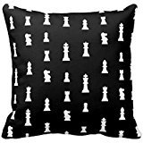 Chess Pieces Pattern - Black And White Throw Pillow Cover