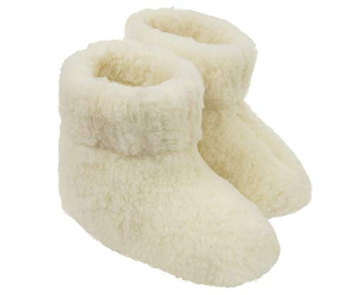 Warme Winter Stiefel (Estro Herren Damen Hausschuhe Reine Wollhausschuhe - Hüttenschuhe Stiefel Warm Winter Wolle Warme Winterhausschuhe Schafswolle Mit Fell Schafwolle OLE (39, Creme))