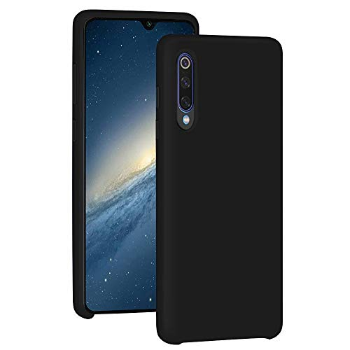 Funda para Xiaomi Mi 9/Mi 9 SE Teléfono Móvil Silicona Liquida Bumper Case y Flexible Scratchproof Ultra Slim Anti-Rasguño Protectora Caso (Black, Xiaomi Mi 9 SE)