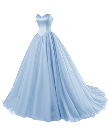 LuckyShe Ballkleider Lang Prinzessin Damen Abendkleider 2018 Hellblau Größe  40 e59c846236