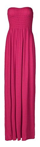 Fast Fashion Damen Maxi Kleid Plus Größe Plain Umführungsvorrichtung Bandeau (Jersey Pink Fashion)
