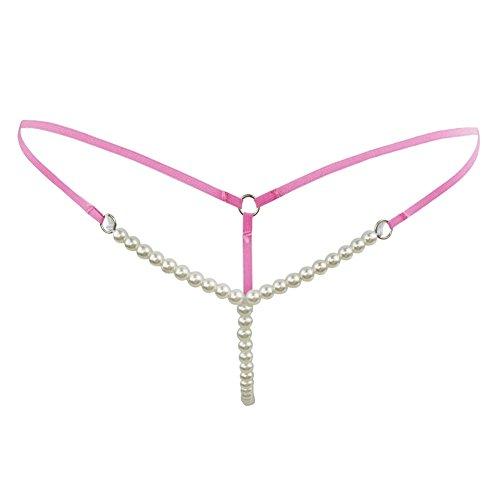 CHICTRY Damen Slip String Tanga Perlenstring Micro String Dessous Höschen Unterhose mit Ketten Dunkel Rosa One Size