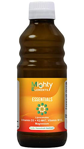 4 in 1 - Liposomales Vitamin D3 (5.000 IE) | Vitamin K2-MK7 | Vitamin B12 (1.000 µg) | Magnesium (150 mg) | Mighty Elements Essentials | hochdosiert | vegan | ohne Alkohol | 250 ml