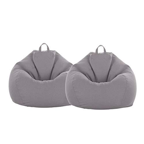 Homyl 2X Große Sitzsack Hülle Bezug Sitzkissen Beanbag Set - Grau