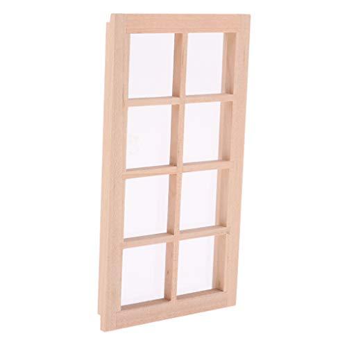 12.01 Dollhouse-Mini ungestrichenen Holz-Fenster-Tür-Fensterrahmen Zubehör