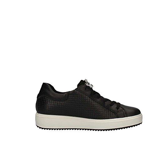 Igico 1148600 Sneakers Scarpe Donna Zeppa Interna Vera Pelle Nero Nero