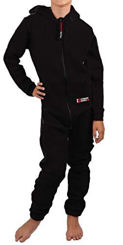Gennadi Hoppe Kinder Jumpsuit - Jungen, Mädchen Onesie Jogger Einteiler Overall Jogging Anzug Trainingsanzug, schwarz,146-152 -