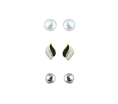 Waama Jewels Three Beautiful Studs Combination For Party wear, Wedding & Winter Collection,South Indian Festival Pongal And makar sankranti Combo Earrings