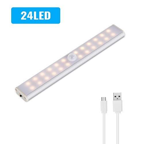 Lacyie Schrankleuchten 24 LEDs Schrankleuchte mit Bewegungsmelder USB Kabellosen Wiederaufladbare 3 Modi Auto On/Off Magnetisch Schranklampe für Garderobe Innen warm 1 Stück