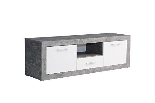 fernsehschrank roller NEWFACE  TV-Unterschrank, Holz, Beton Optik/Weiß, 147.80 x 41 x 49.90 cm
