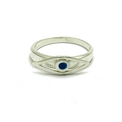 Bague en argent massif 925 oeil bleu avec émail R001665 Empress