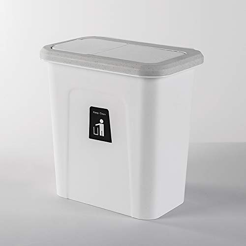 Mülleimer, Wandmontage Mülltonnen, Küche Mülltrennung Müllcontainer, 8L Druckring Oder Abdeckung schieben Abfallbehälter Für Küche Büro Tisch (Weiß, Grau, Kaffee) (Grau-kaffee-tisch)