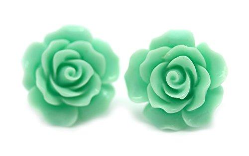 (bluebubble English Rose 22mm Magic Mint Grün geschnitzt Rose Ohrstecker Ohrringe mit GRATIS Geschenkbox)