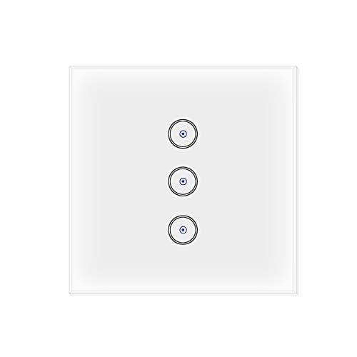 Jinvoo Wifi Smart Lichtschalter 3 Gang kompatibel mit Alexa und Google Home, EU Smart Touch Switch, Smart Phone Fernbedienung gehärtetes Glas, Timing-Funktion,keine Hub erforderlich, MEHRWEG (3 Gang)
