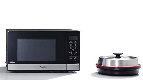 Panasonic NN-GD38HSGTG Kombi-Mikrowelle mit Grill und Dampfgarer / Steamer / 1.000 W / Pizzapfanne / 23 L / Edelstahl-Schwarz