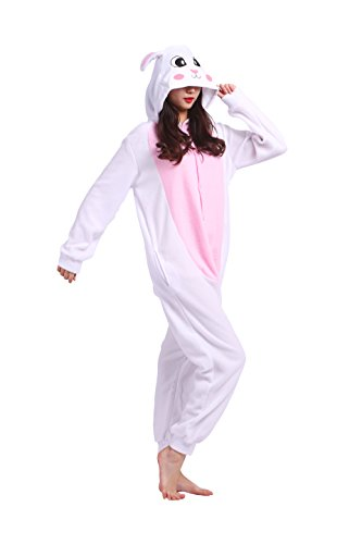 Imagen de magicmode unisex lindo de la historieta enterizo de cosplay pijamas anime animales disfraces de adultos sudadera con capucha kigurumi pijamas conejo blanco s