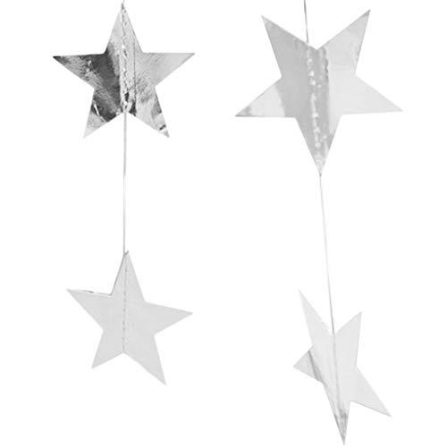 Jinzuke 4m Stern Hanging Garland Papier fünfzackigen Stern Disc Bunting Banner String Geburtstag Hauptdekoration Hochzeit Photo Booth Props (Photo Booth Kulisse Weihnachten)