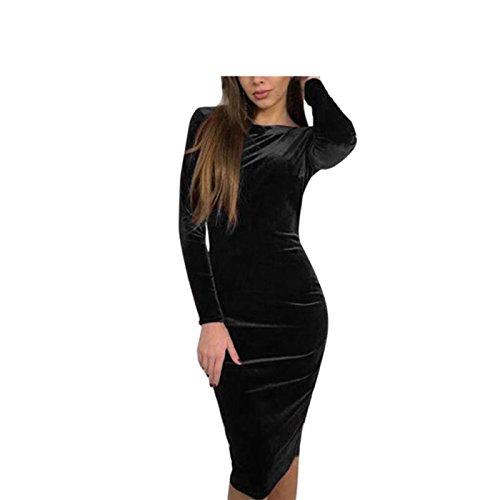 LSAltd Damen Vintage Velvet Solides figurbetontes Kleid Frauen Herbst und Winter Langarm Slim Dress (Schwarz, M) (Dot-socken Mini)