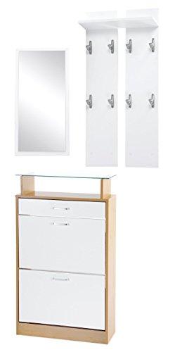 ts-ideen 3er Set Garderobe Spiegel Schuhkipper in weiß und Buchenholzoptik Schuhschrank mit Schublade und Ablagefläche aus Glas