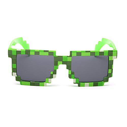 Lankater Neuheit Mosaik Sonnenbrille Mit Eckiger Form Art Und Weise Unisex Pixel Sonnenbrillen Für Trend-Straße Schießt Kind-Geschenk