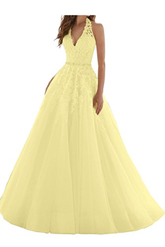 La_Marie Braut Blau Spitze V-ausschnitt Neckholder Abendkleider Ballkleider Partykleider A-linie Prinzess Neu Gelb