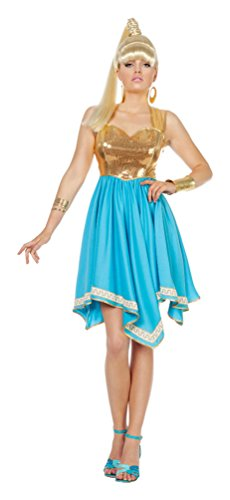 Karneval-Klamotten Griechische Göttin Kostüm sexy Göttin Kleid blau Gold Venus Karneval Damen-Kostüm Größe 38